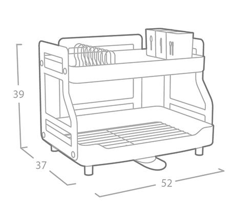 מתקן לייבוש כלים 2 קומות עם ניקוז מתכוונן 360 ומעמד לקרש חיתוך וכוסות יין OLIVIER תוצרת קוריאה - משלוח חינם - תמונה 3