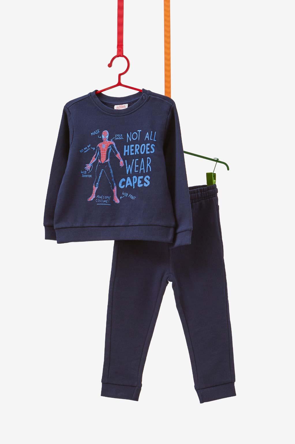 חליפת פוטר OVS עם הדפס ספיידרמן לילדים - כחול