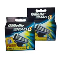 """מארז 8 סכיני גילוח Gillette Mach3 + מארז של 2 סכינים Gillette Mach 3 מתנה! סה""""כ 10 יחידות - משלוח חינם!"""