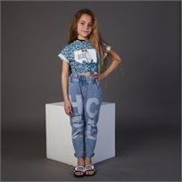חולצת ORO לילדות (מידות 2-7 שנים) כחול מנומר