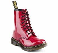 נעלי נשים Dr. Martens בעלות טכנולוגיית סוליית האוויר דגם 8 Eye Boot Patent Lamper אדום
