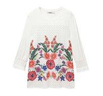 חולצה ארוכה בהדפס פרחוני משולבת תחרה לנשים Desigual דגם Brenda בצבע לבן