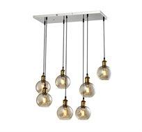 מנורת תליה מעוצבת 7 גופי תאורה ליב ביתילי המשלבת זכוכית בגימור קוניאק ובתי נורה מתכתיים