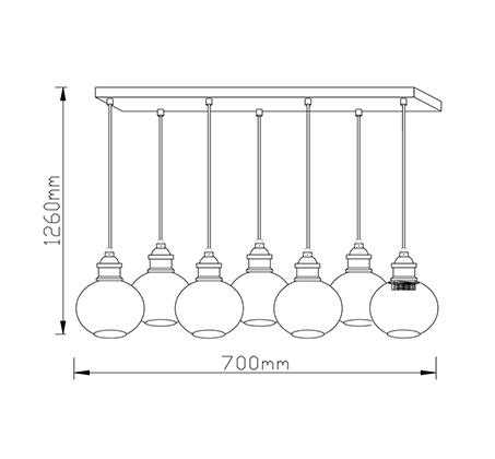 מנורת תליה מעוצבת 7 גופי תאורה ליב ביתילי המשלבת זכוכית בגימור קוניאק ובתי נורה מתכתיים  - משלוח חינם - תמונה 2