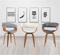 כיסא מעוצב עם מושב דמוי עור למראה יוקרתי