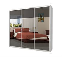 ארון הזזה 3 דלתות מראה בשילוב זכוכית דגם MGD במבחר צבעים וגדלים
