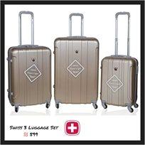 Swiss סט 3 מזוודות 100% פוליקרבונט כחול מטאלי