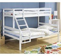 מיטה דו קומתית לילדים ונוער מעוצבת עשויה מעץ אורן מלא עם מעקה בטיחות קבוע דגם CRISTALL
