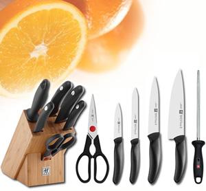 בלוק 6 חלקים מבית zwilling הכולל 4 סכינים בגדלים שונים לשימוש נרחב + מספריים + מוט השחזה