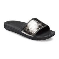 Crocs Sloane MetalText Slide W - כפכפי סלייד כסופים בצבע אפור כההשחור