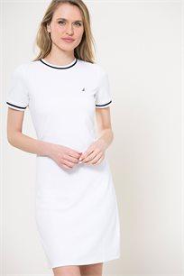 שמלה עם צווארון עגול לנשים Nautica בצבע לבן/כחול