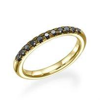 """טבעת נישואין """"ניקי"""" 0.25 קראט משובצת יהלומים שחורים"""