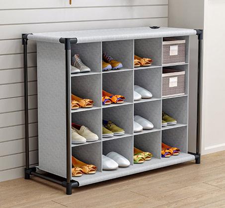 מתקן לאחסון וארגון נעליים עם 16 תאים