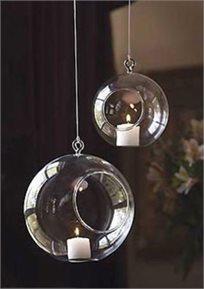 זוג כדורי-עציץ מזכוכית לעיצוב המרפסת והגן