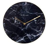 שעון קיר עגול בעיצוב מודרני במראה שיש שחור