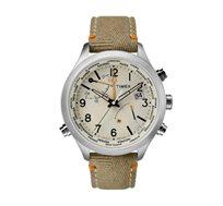שעון יד אנלוגי לגבר עם תצוגת שעון עולמי ועמיד במים TIMEX
