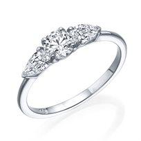 """טבעת יהלומים """"טיפה 3 יהלומים"""" 0.77 קראט זהב לבן"""