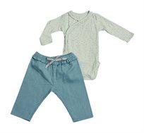 סט בגד גוף עם מכנסיים לתינוקות - טורקיז