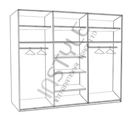 ארון הזזה 3 דלתות עם פס תליה ומדפים רוחב 200 ס