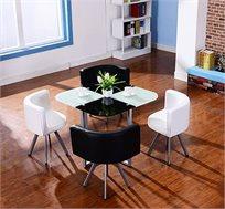 פינת אוכל מעוצבת ומודרנית מזכוכית + 4 כסאות מרופדים