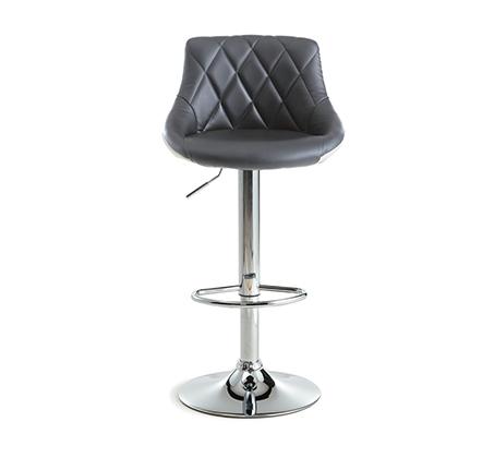 זוג כסאות בר מרופדים דמוי עור דגם אוסקר בצבע אפור עם לבן