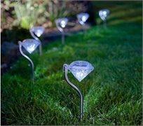 סט תאורת גן סולארית צבעונית, חסכונית בחשמל וידידותית לסביבה בעיצוב יהלום