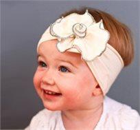 אופנה ראשונה! סרט ראש רחב לבן עם פרח לבן גדול, 100% כותנה עדינה ונעימה לתינוקות