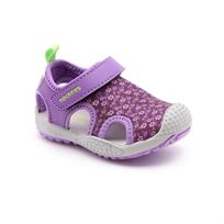 Candy - נעלי צעד ראשון לילדות בצבע סגול עם הדפס פרחים עדינים