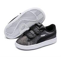 נעלי סניקרס Puma Smash V2 Glitz Glam V Inf לילדות בצבע שחור מנצנץ