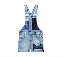 אוברול ג'ינס לילדות בשילוב פאצ'ים ופייטים Desigual דגם Bordonaba בצבע כחול