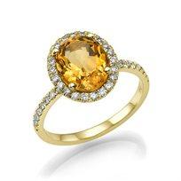 """טבעת יהלומים זהב צהוב """"אליסון"""" בשילוב אבן סיטרין ענקית"""