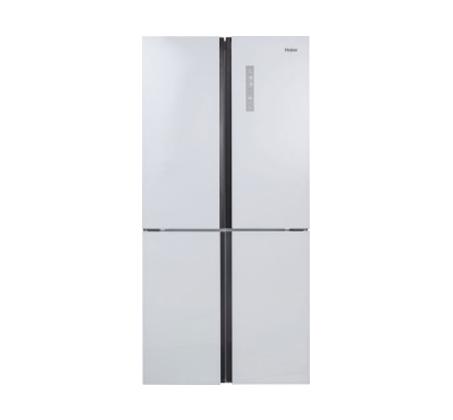 כולם חדשים מקרר 4 דלתות מקפיא תחתון Haier נפח 487 ליטר זכוכית לבנה No Frost HD-75