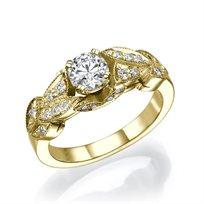 """טבעת יהלומים וינטאג' """"קיירה"""" 0.75 קראט זהב צהוב"""