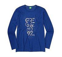 חולצת טי שירט ארוכה Hugo Boss לגברים בצבע כחול