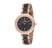 שעון קרמי לאישה SLAZENGER בצבעי שחור וזהב