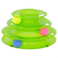 משחק לחתול- גלגל 3 קומות עם כדורים