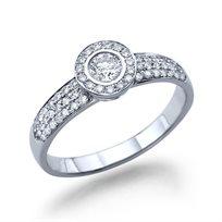 טבעת אירוסין זהב לבן בריטני 0.71 בשיבוץ כתר יהלומים נוצץ