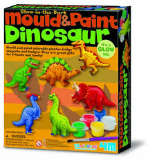 יצירה בגבס / דינוזאורים זוהרים בחושך 4M