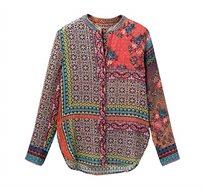 חולצה מכופתרת ארוכה בסגנון בוהו Magnolia לנשים - צבעוני