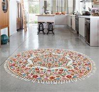שטיח צמר עגול עבודת יד בגווני אדמה במגוון גדלים לבחירה
