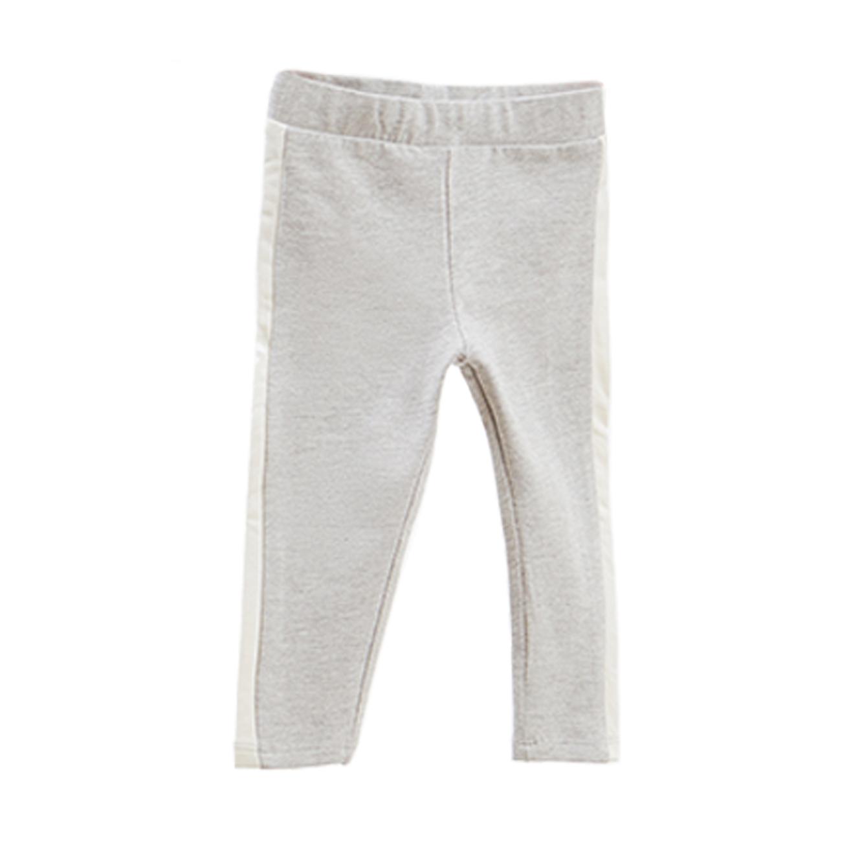 מכנסי כותנה סטרצ'ים OVS לילדות - אפור בהיר עם פסים בצדדים