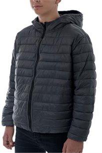 מעיל אולטראלייט דו צדדי מתקפל לתוך שקית חגור בצבע שחור/אפור