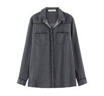 חולצה מכופתרת Promod לנשים בצבע אפור כהה