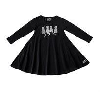 שמלת ג'רזי מסתובבת עם שרוול ארוך - שחור בשילוב הדפס חתולים