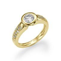 טבעת אירוסין זהב צהוב דבי 0.50 קראט בשיבוץ 23 יהלומים