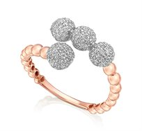 טבעת זהב 14K משובצת 132 יהלומים במשקל כולל של 0.67 נקודות