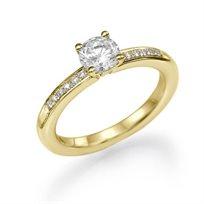 טבעת אירוסין זהב צהוב פיונה 0.61 קראט בעיצוב קלאסי משובץ יהלומים
