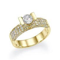 """טבעת אירוסין זהב צהוב """"ויקטוריה"""" 1.01 קראט"""