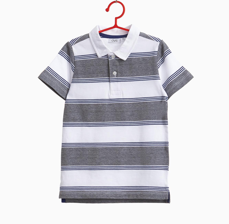 חולצת פולו OVS פסים אפור ולבן קצרה - לבן