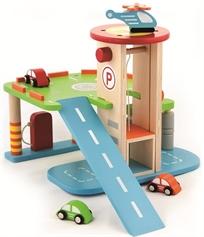 חניון מכוניות עם מעלית, רמפה, 3 מכוניות ומסוק